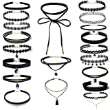 Women's Black Velvet Choker Necklace for Girls Lace Choker Tattoo Necklace 20 Pieces