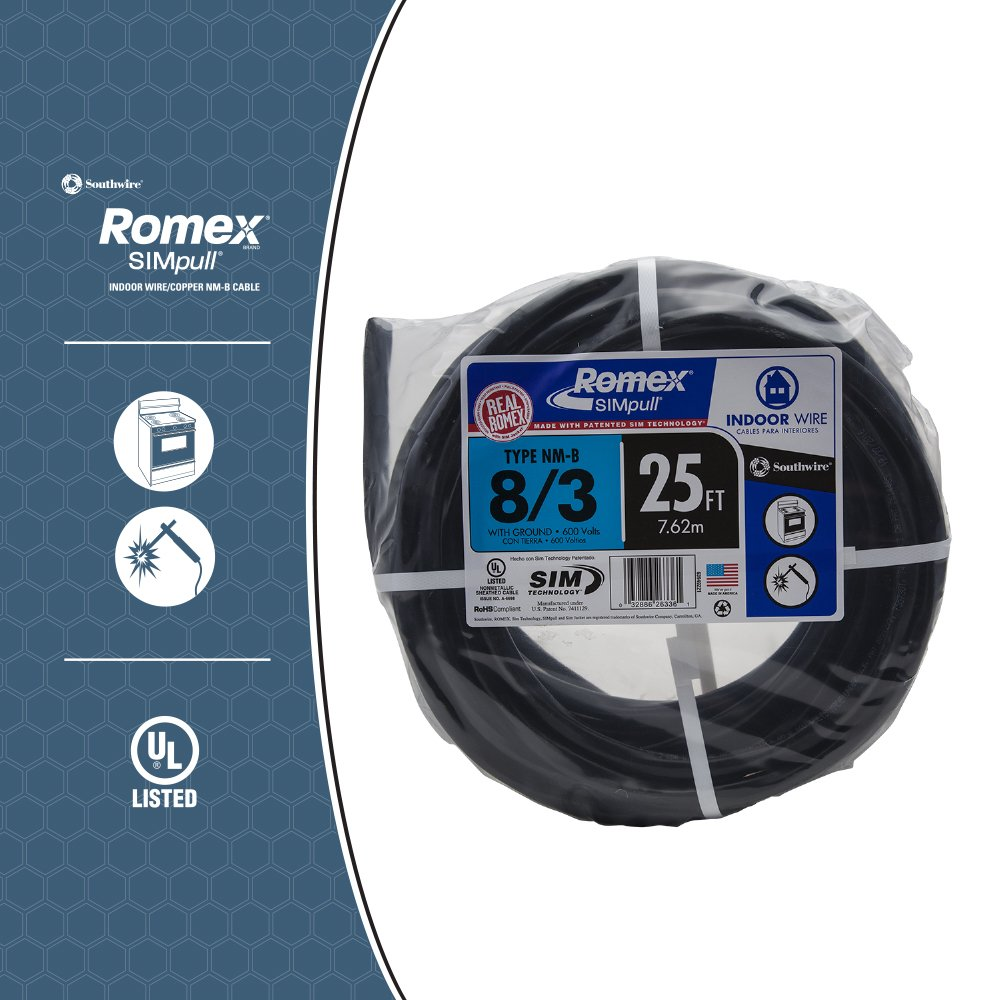 Southwire 63949221 25\' 8/3 with ground Romex brand SIMpull ...