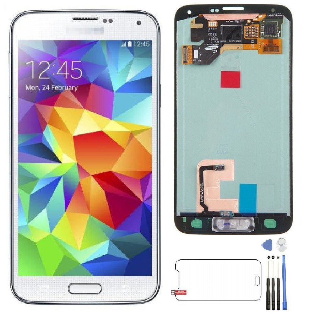 LCD Display Touch Screen Digitizer Assembly Replacement Part for Samsung S5,for I9600 G900 G900A G900F G900P G900T G900V G900R4 with Tools Kits and Screen Protector.(White)