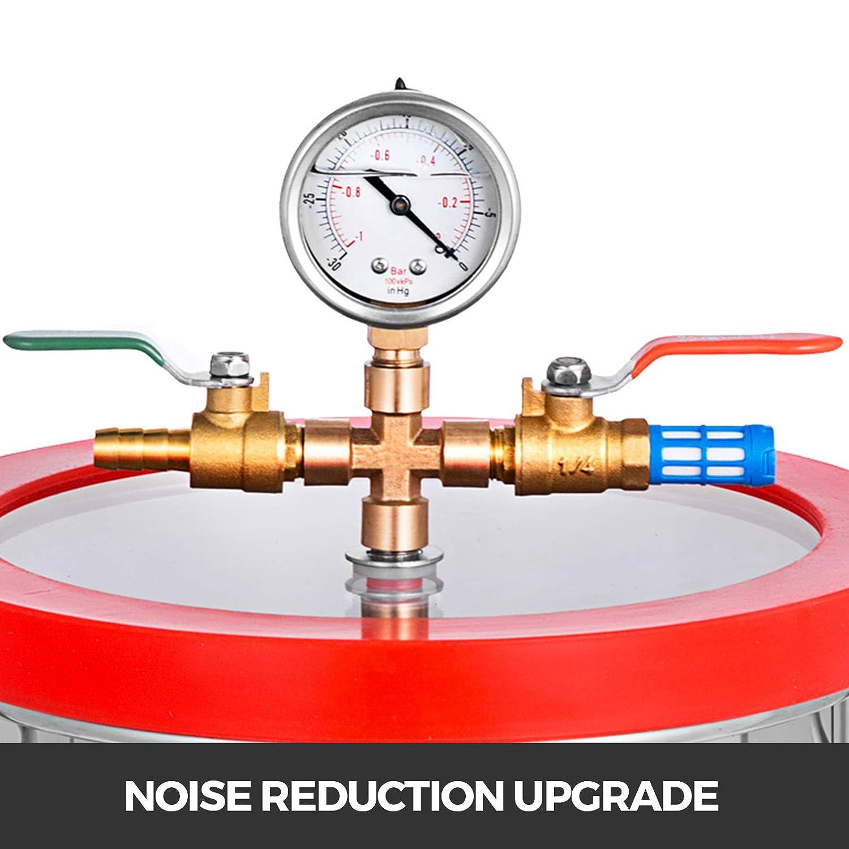 VEVO Einstufige Vakuumpumpe 3CFM Gauge Klimaanlage Set mit 7.6 L Vakuumkammer Druckmessersatz 50 L Vakuumpumpe