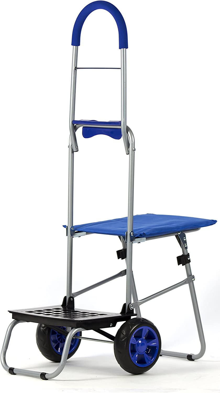 dbest products Mighty Max with Seat Personal Dolly, Blue Handtruck Cart Hardware Garden Utilty