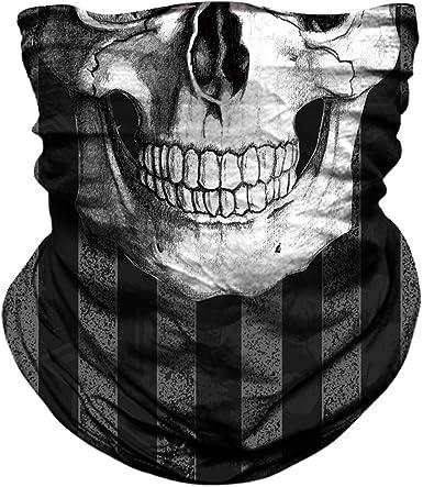 Seamless Skull Balaclava Face Shield Sun Mask Neck Gaiter Motorcycle Cycling SPF
