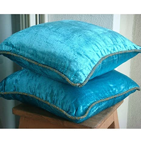 Turquoise Shimmer - Decorativa Funda de Cojin 40 x 40 cm, Square Turquesa Terciopelo Frontera de Cuentas Hecho A Mano