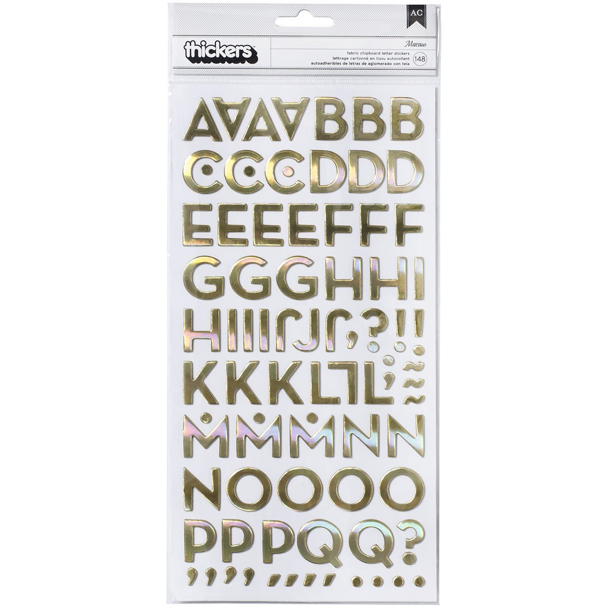 American Crafts Atlas Thickers Alpha Stickers, 5.5-Inchx11-Inch, Atlas/Iridescent Fabric Chipboard PP70639