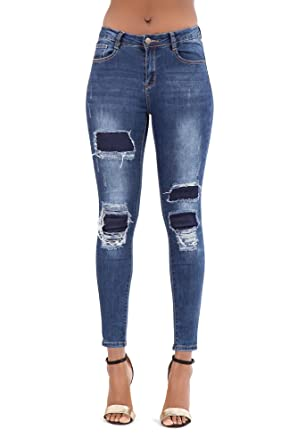 6166e913f77 Lusty Chic New Women s Blue High Waisted Stretchy Denim Jeans Ladies Ripped  Knee Cotton Jeans Trousers