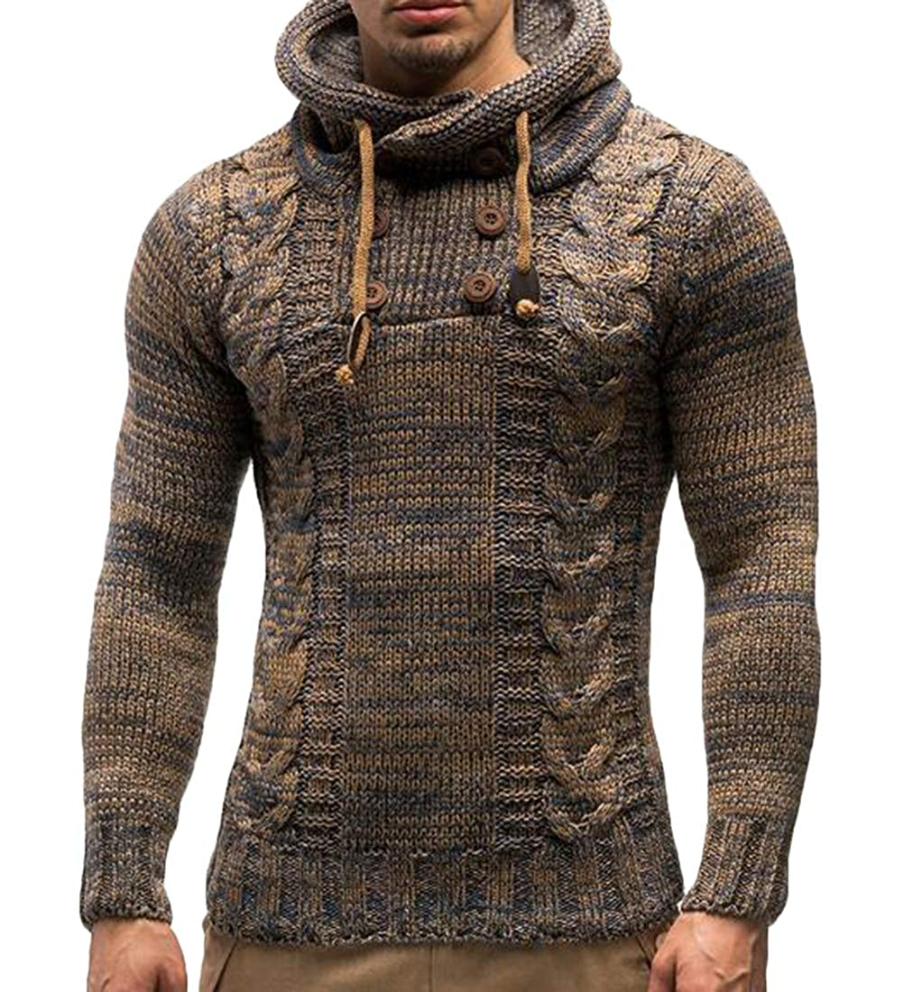 Nanquan Men Kint Fashion Slim Double Breasted Hooded Sweater