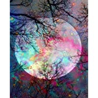 5D Diamond Painting by Number Kit, Bright Moon Full Drill Embroidery Cross Stitch Picture Supplies Arts Craft Wall…