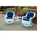Tortuga Outdoor Biloxi 3 Piece Swivel Patio Bistro Table Set, White with Navy Cushions