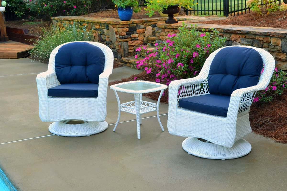 white resin wicker patio chairs. Amazon.com: Tortuga Outdoor Biloxi 3 Piece Swivel Patio Bistro Table Set, White With Navy Cushions: Garden \u0026 Resin Wicker Chairs S