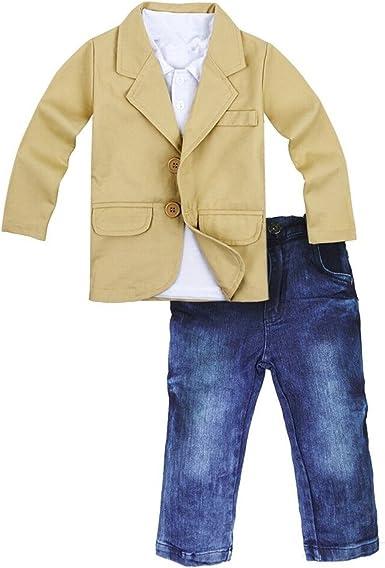 3pcs Toddler Baby Boys Blazer coat+T-shirt Jeans Pants Casual Outfits Set