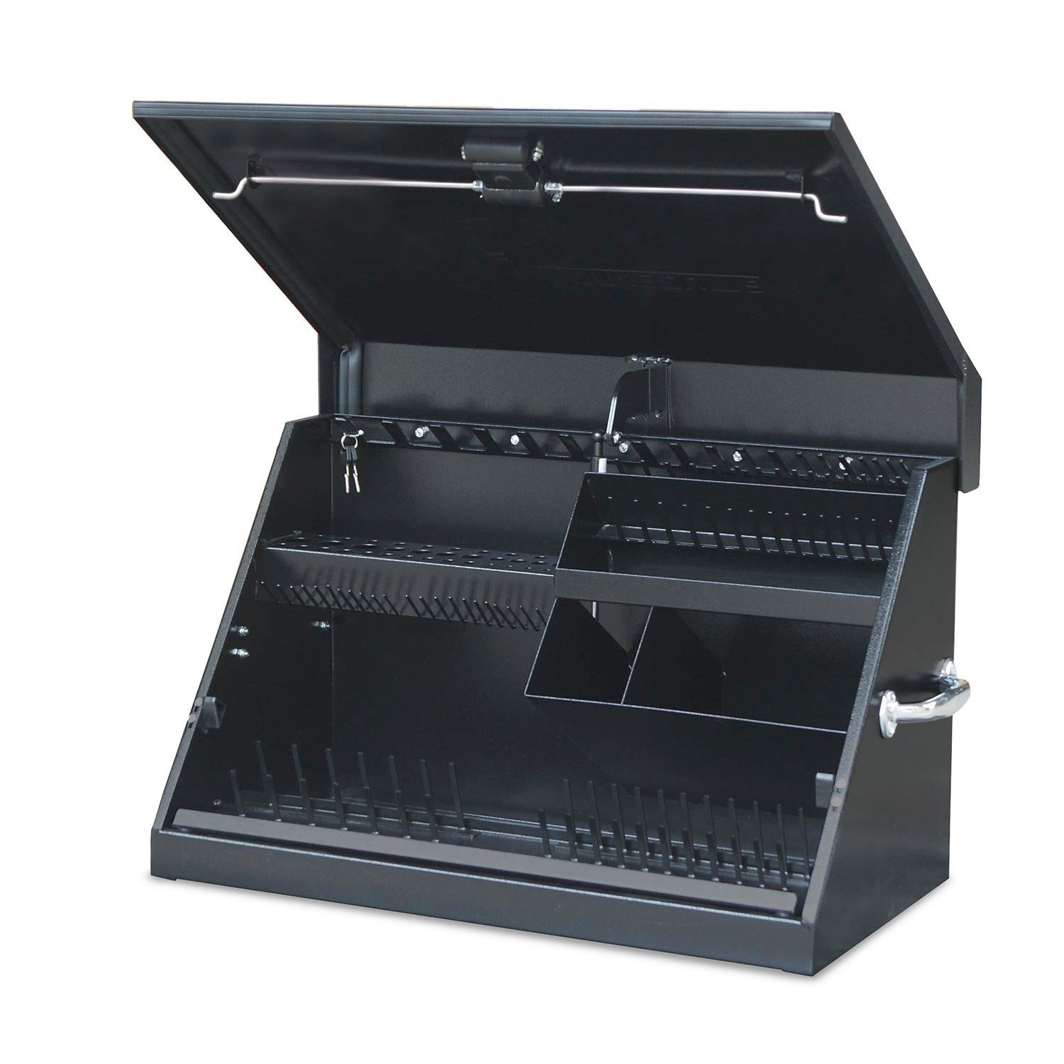 Montezuma - ME300B - 30-Inch Portable TRIANGLE Toolbox - Multi-Tier Design - 16-Gauge Construction - SAE and Metric Tool Chest - Weather-Resistant Toolbox - Lock and Latching System by Montezuma