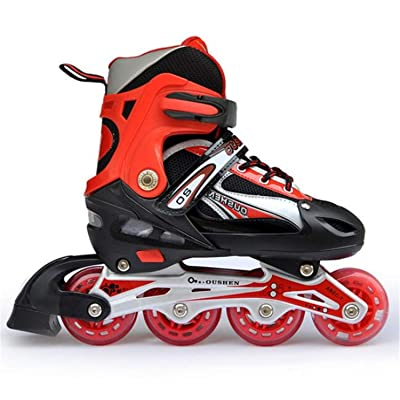 Sports Roller Skates Adult Children Straight Row Roller Skates Adjustable Aluminum Bracket Brake Ride Toy 8-Wheel LED Flash : Sports & Outdoors