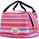 Aosbos Reusable Insulated Lunch Box Tote Bag (Pinstripe)