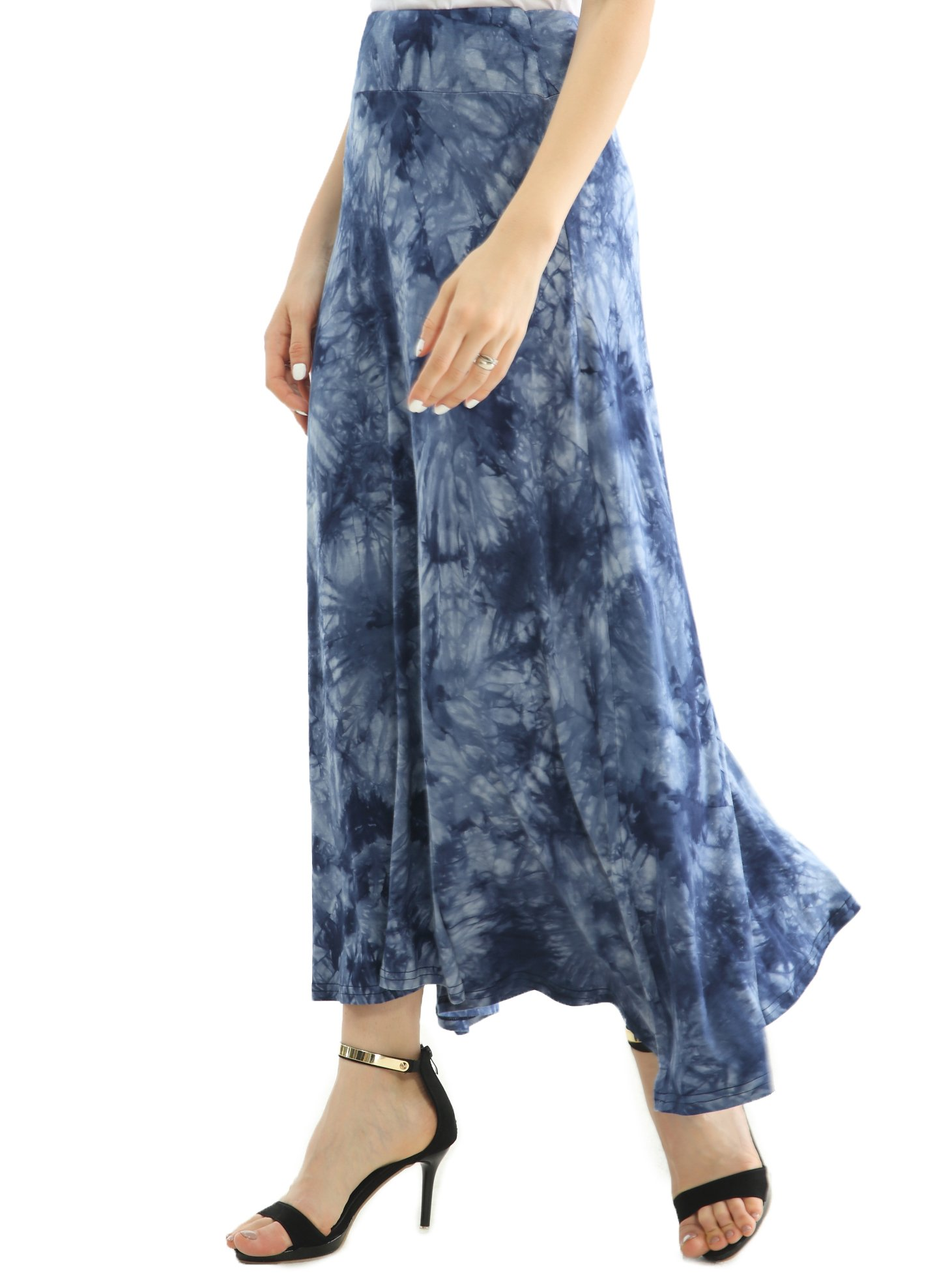 JOAUR Women's Casual Skirts Tie Dye Elastic Waist Fold Over Long Blue Maxi Skirt
