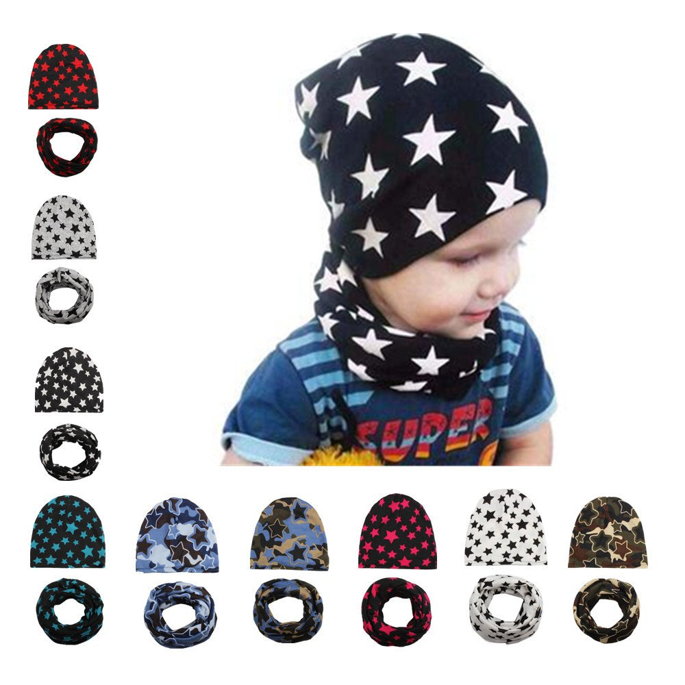 SHOBDW Boys Hats Toddler Kids Baby Girl Boy Autumn Winter Fashion Star Cap Children Scarf Collars Hat