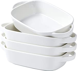 "Bruntmor Set Of 4 Ceramic 7""x5"" Baking Dish Oven Safe Roasting Lasagna Pan Small Casserole Bakeware with Handle Rectangular Dish, 20 Oz. White"