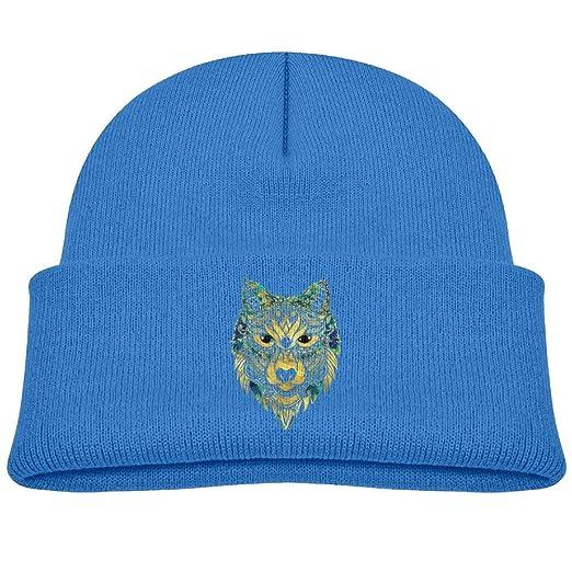 e186122b5fa1 Amazon.com  Beanies Caps Knit Hats Tribal Wolf Gold Marble Soft Wool ...