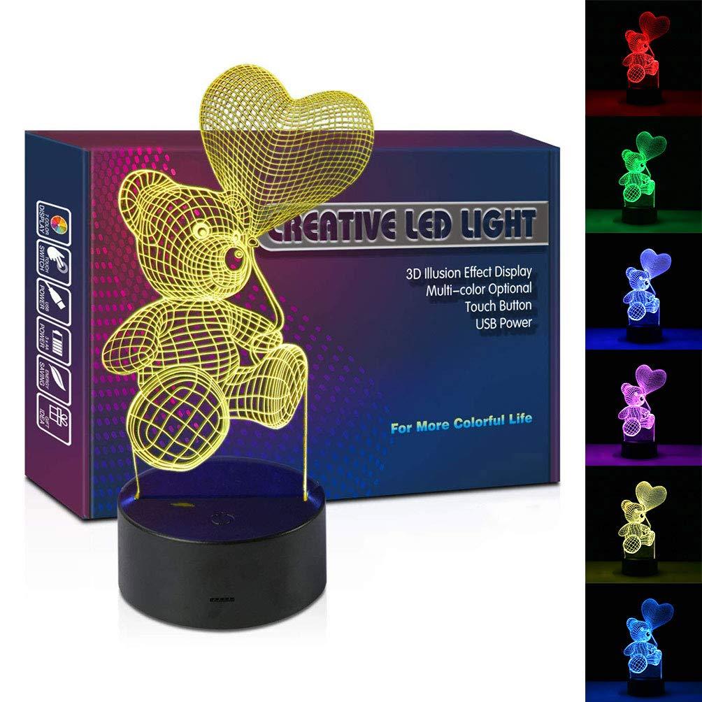 3D イリュージョンランプ USB電源供給 ビジュアル光学ナイトライト スマートタッチテーブルデスクランプ ロマンチックガールフレンド用 クリエイティブなマルチカラーライト 子供部屋 ユニコーン用 3D-I LOVE YOU B07GRDCHJ3  Teddy Bear1