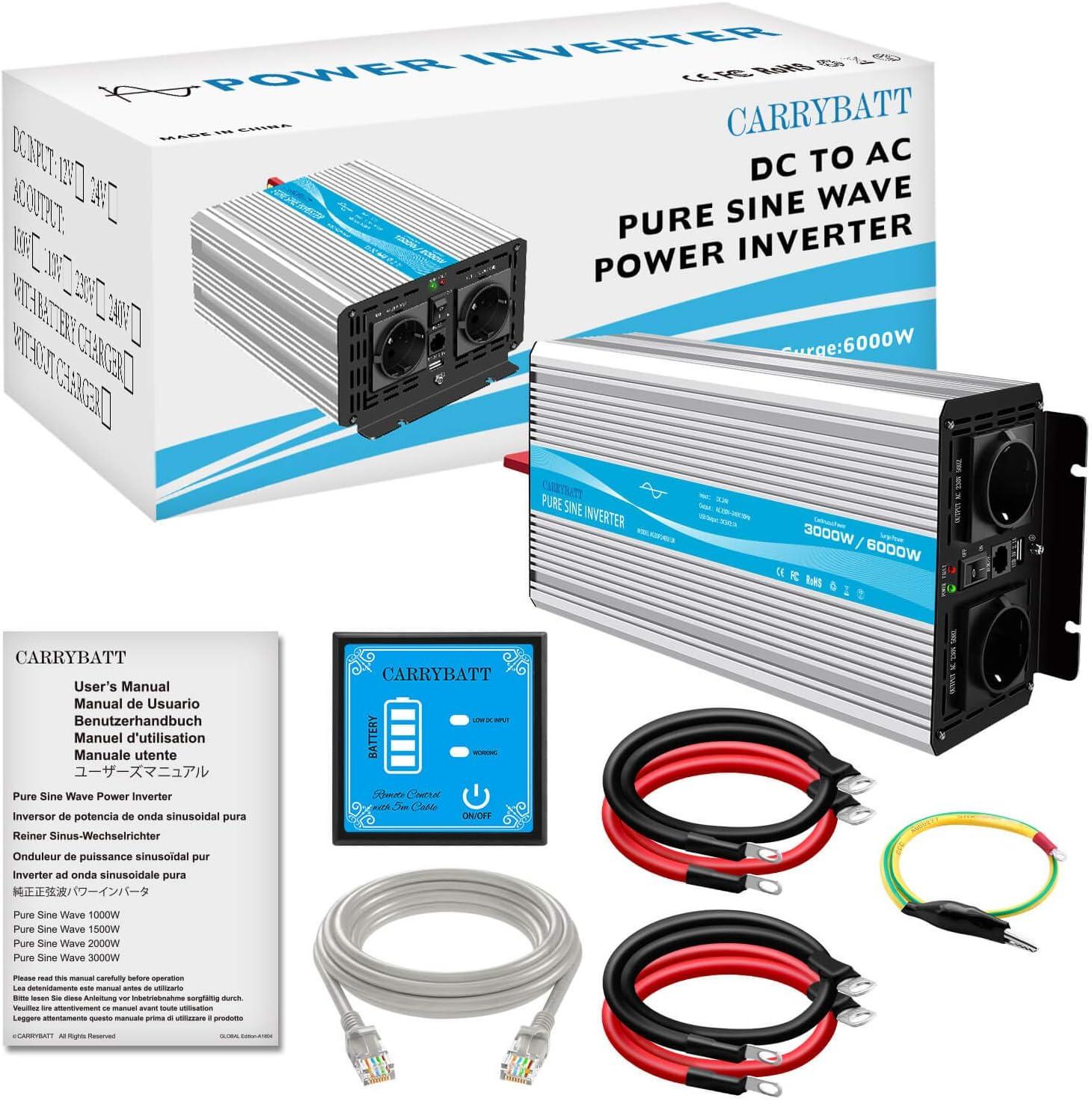 CARRYBATT Inversor de Corriente de Onda sinusoidal Pura 3000W//6000W Convertidor DC 24V a AC 220V 230V con Mando a Distancia /& Salidas de AC duales y Puerto USB