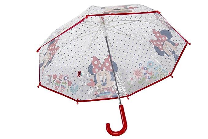 Paraguas niña cúpula largo PERLETTI DISNEY MINNIE rojo PVC trasparente Q955