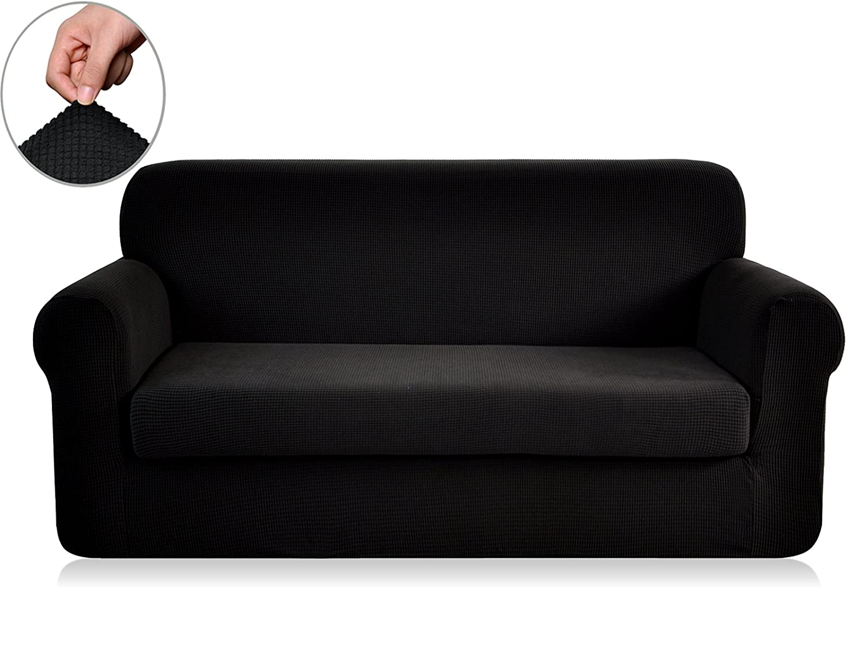 Chunyi 2 Piece Jacquard Polyester Spandex Sofa Slipcover Loveseat Black Ebay