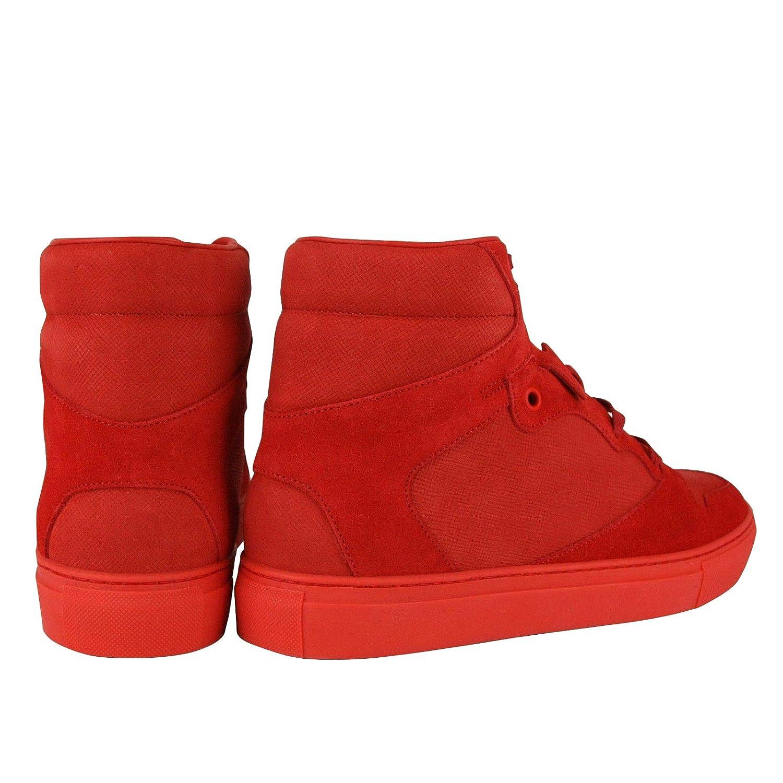 e52cfc93152 Amazon.com | Balenciaga Men's Hi Top Red Nu-Buck Suede/Rubber Sneaker  412347 | Fashion Sneakers