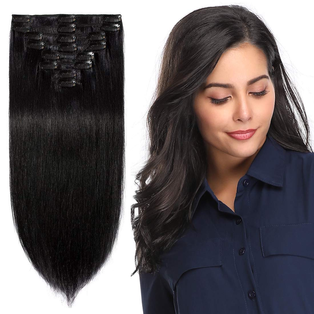 Amazon Com S Noilite Clip In Remy Human Hair Extension Short Hair Extension Clip On Full Head 8 Pieces Set Very Soft Style Real Silky For Beauty Straight 10 Inch 1b Natural Black Beauty