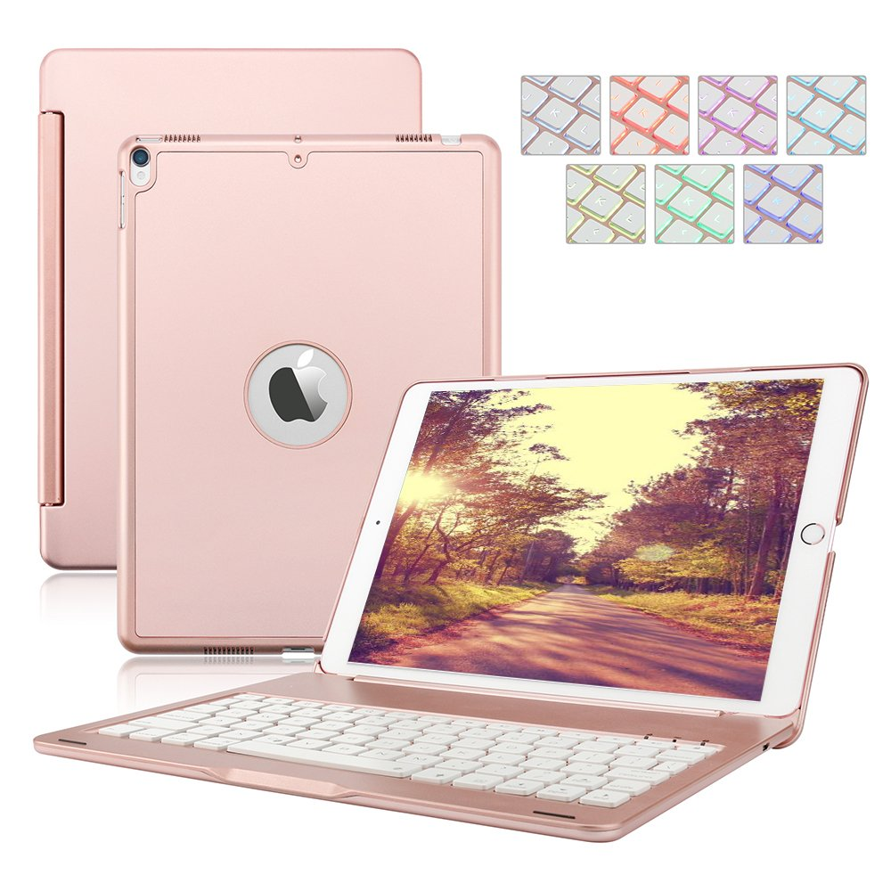 iPad Keyboard Case for iPad 9.7 2018/2017,Dingrich 7 Color Backlit Aluminum Hard Shell Bluetooth Keyboard Case for iPad 5th and 6th Generation (NOT for iPad Pro 9.7) (Rose Gold) by D DINGRICH