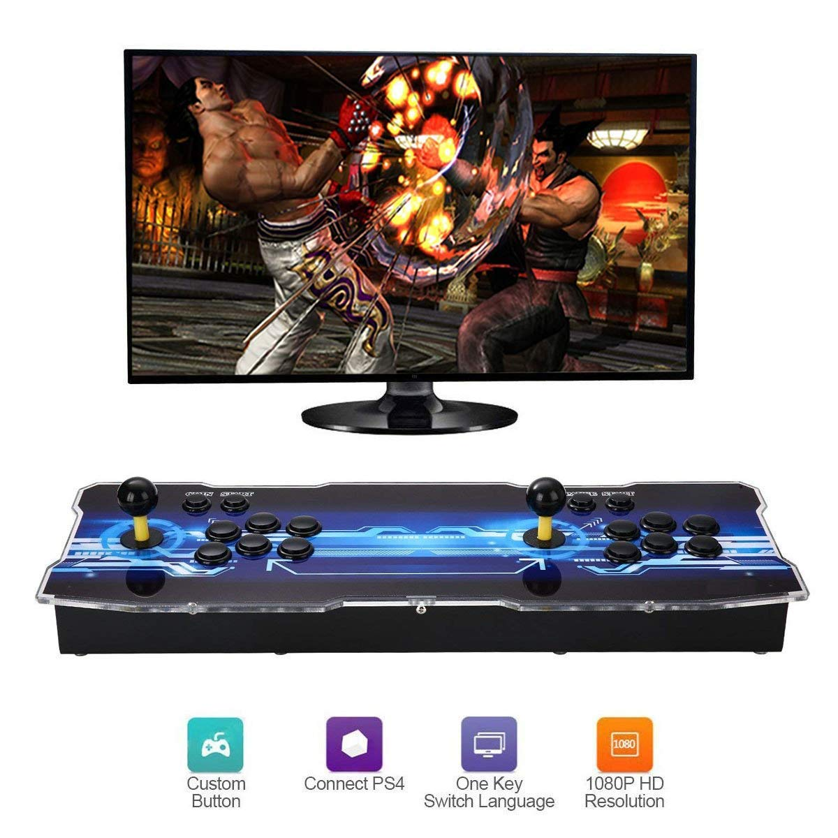SeeKool Newest 3D Pandora X Arcade Game Console, 1920x1080 Full HD 4 Players Max Arcade Machine with 2200 Games, Support Extended TF Card& USB Disk to Enjoy More Games PC / Laptop / TV / PS3 by SeeKool (Image #2)