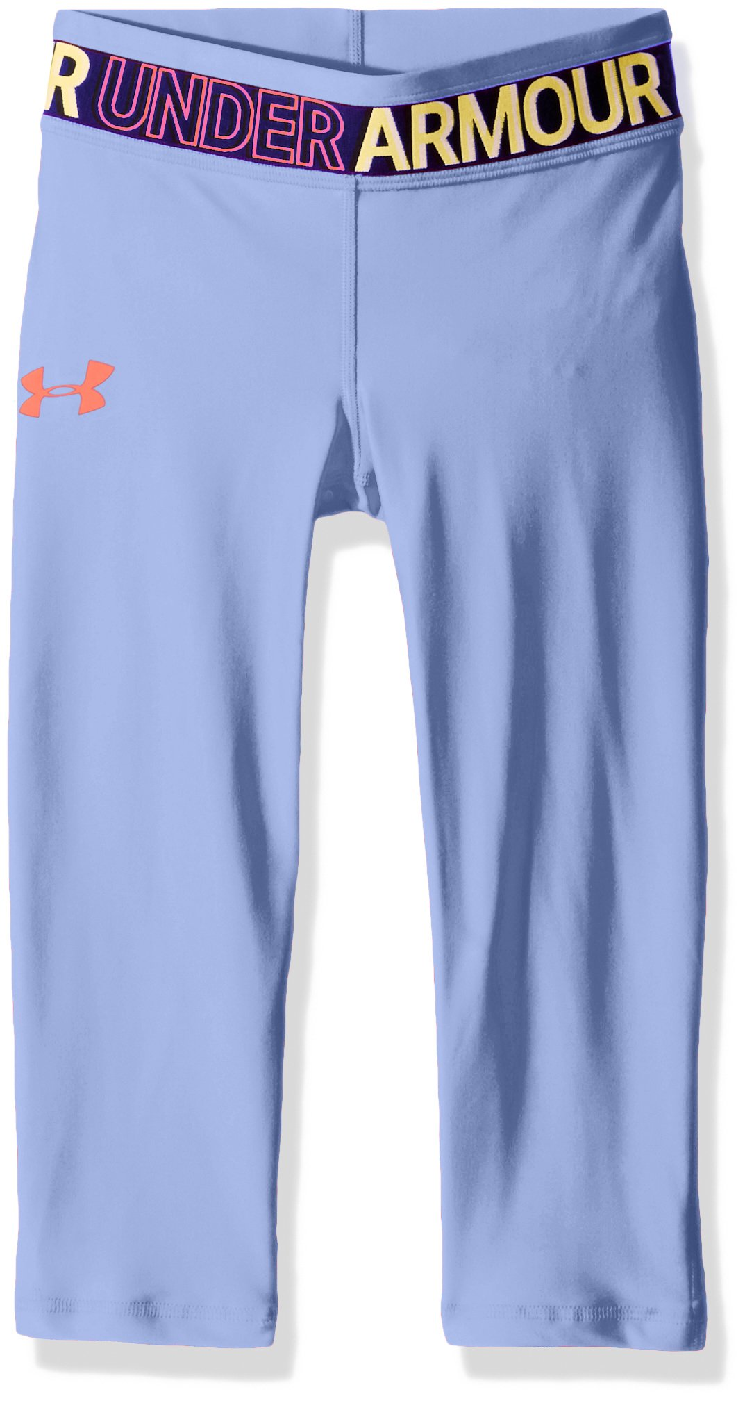 Under Armour Girls' HeatGear Armour Capris, Talc Blue /Neon Coral, Youth Large by Under Armour