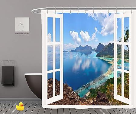 iPrint Shower Curtains 2.0The Open Window DecorRainforest Waterfall Foliage Jungle Misty Mountains & iPrint Shower Curtains 2.0The Open Window DecorRainforest ...