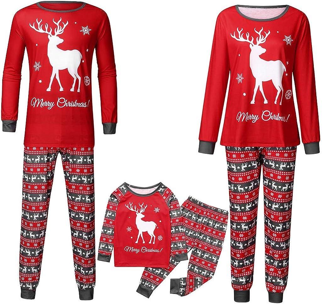 Fossen Kids Pijamas Familiares Navidad Impresión de Cervatillo, Pijama Navidad Familia de Manga Larga Conjunto de Mujer Hombre Bebe, Traje de Navidad ...