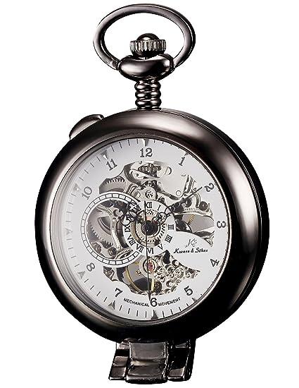 KS Reloj de Bolsillo con Cadena Hombres Vintage Steampunk Esqueleto Mecánico con Caja de Regalo Color Negro KSP064: Amazon.es: Relojes