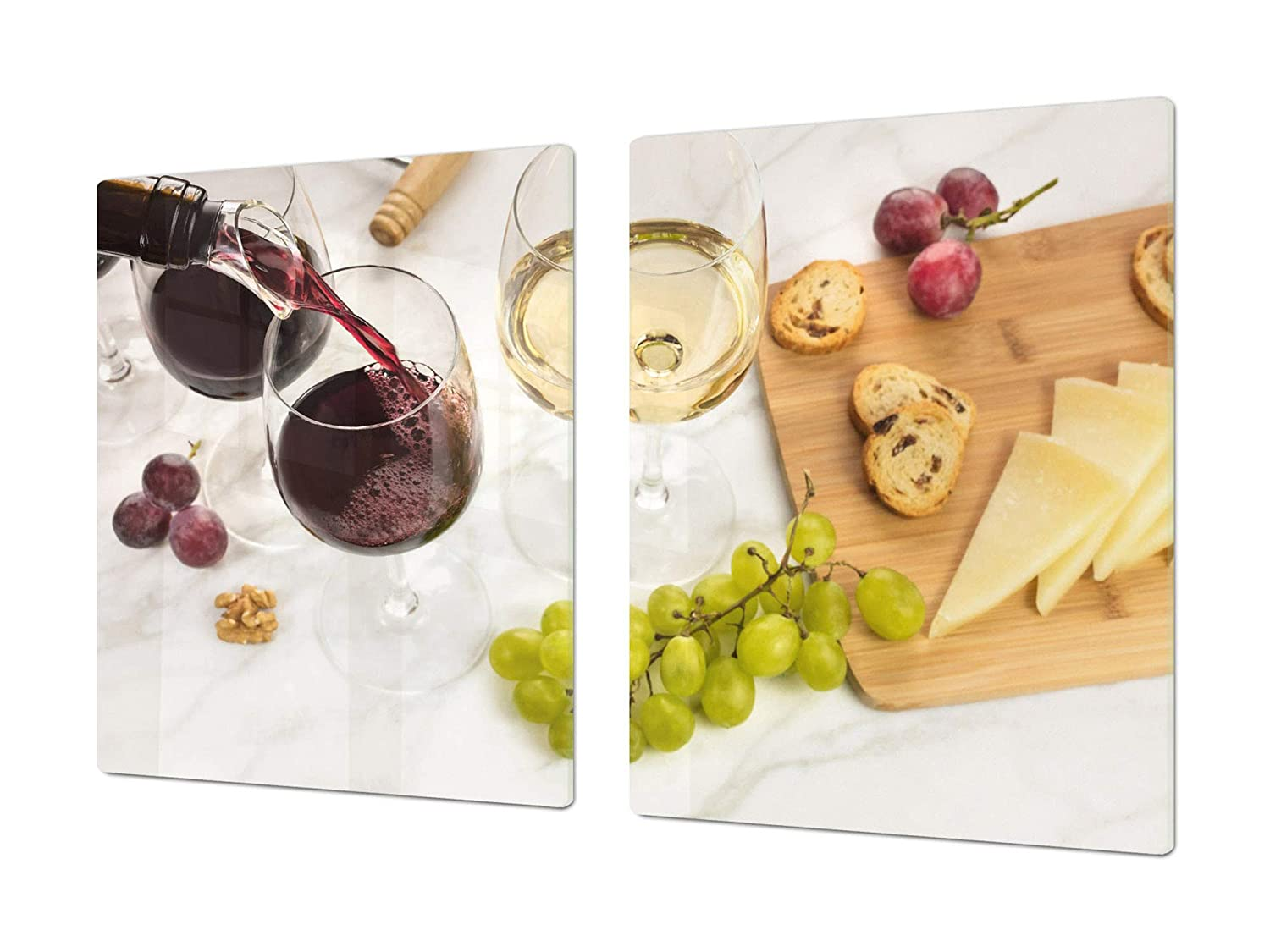 French wines 1 2x40x52 Big Kitchen Board & Induction Cooktop Cover – Glass Pastry Board – Heat and Bacteria Resistant;Single  80 x 52 cm (31,5  x 20,47 ); Double  40 x 52 cm (15,75  x 20,47 ); Wine Series DD04