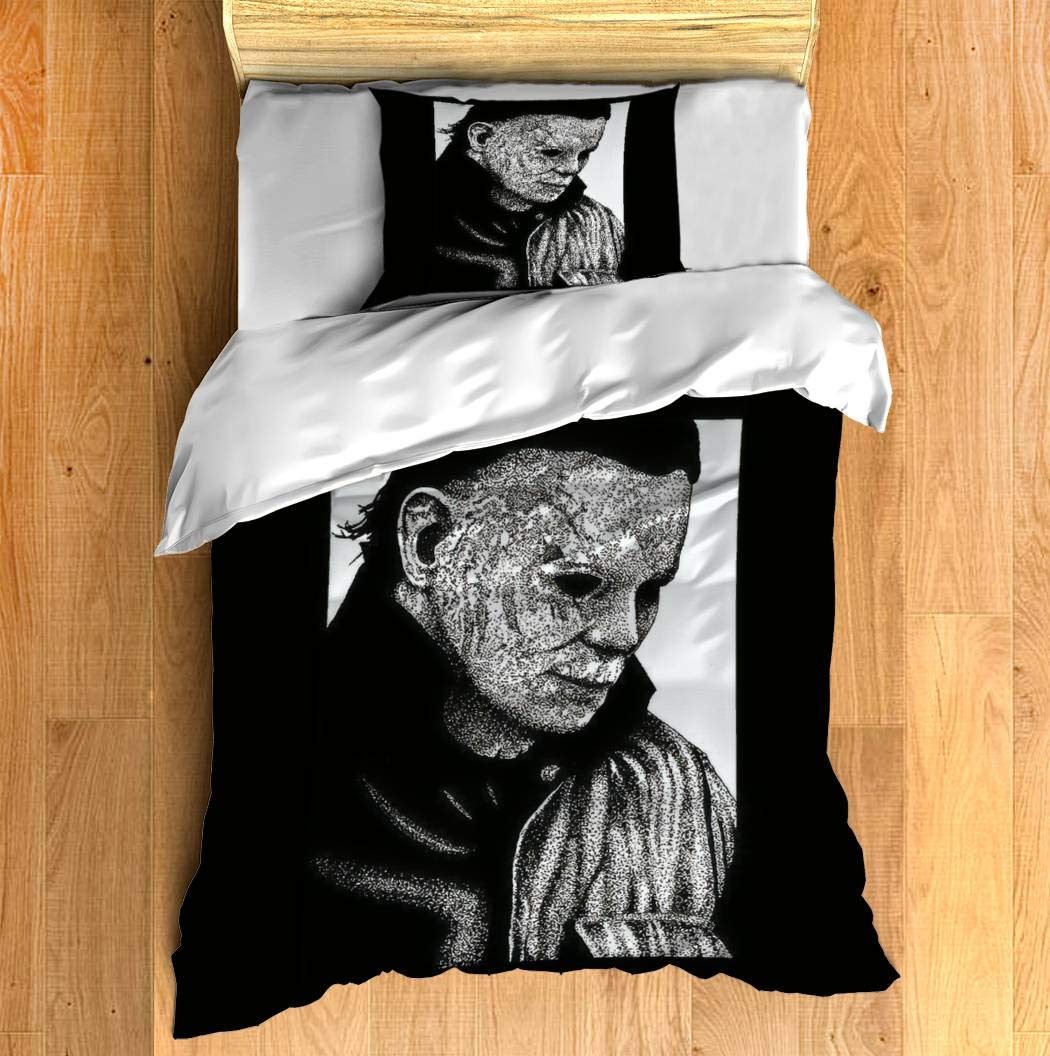 "Duvet Cover Set Halloween Micheal Myers Bedding Set Comforter Cover with Zipper Closure, Bed Quilt Cover Pillow case for Girls Boys, 68""x85"""