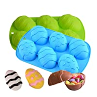 Dinosaur Egg Molds, 3D Eggs Silicone Molds, 6 Holes Chocolate Mold, Easter Non-Stick DIY Baking Mould for Cake, Dome Mousse, Jelly, Pudding, Muffin (Blue/Green 2pcs)