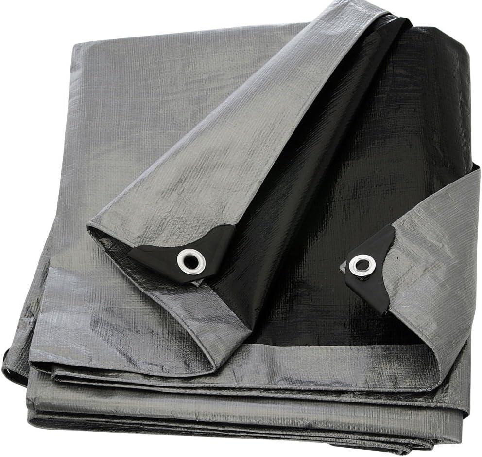 12 x 25 Heavy Duty Silver//Black Waterproof UV Blocking 10 Mil Poly Tarp