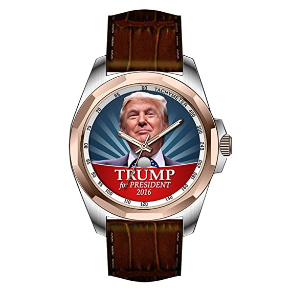 aimashi para hombre Golden personalizado único diseño de moda impermeable reloj de pulsera - Donald Trump fotos Presidente 2016 relojes: Amazon.es: Relojes