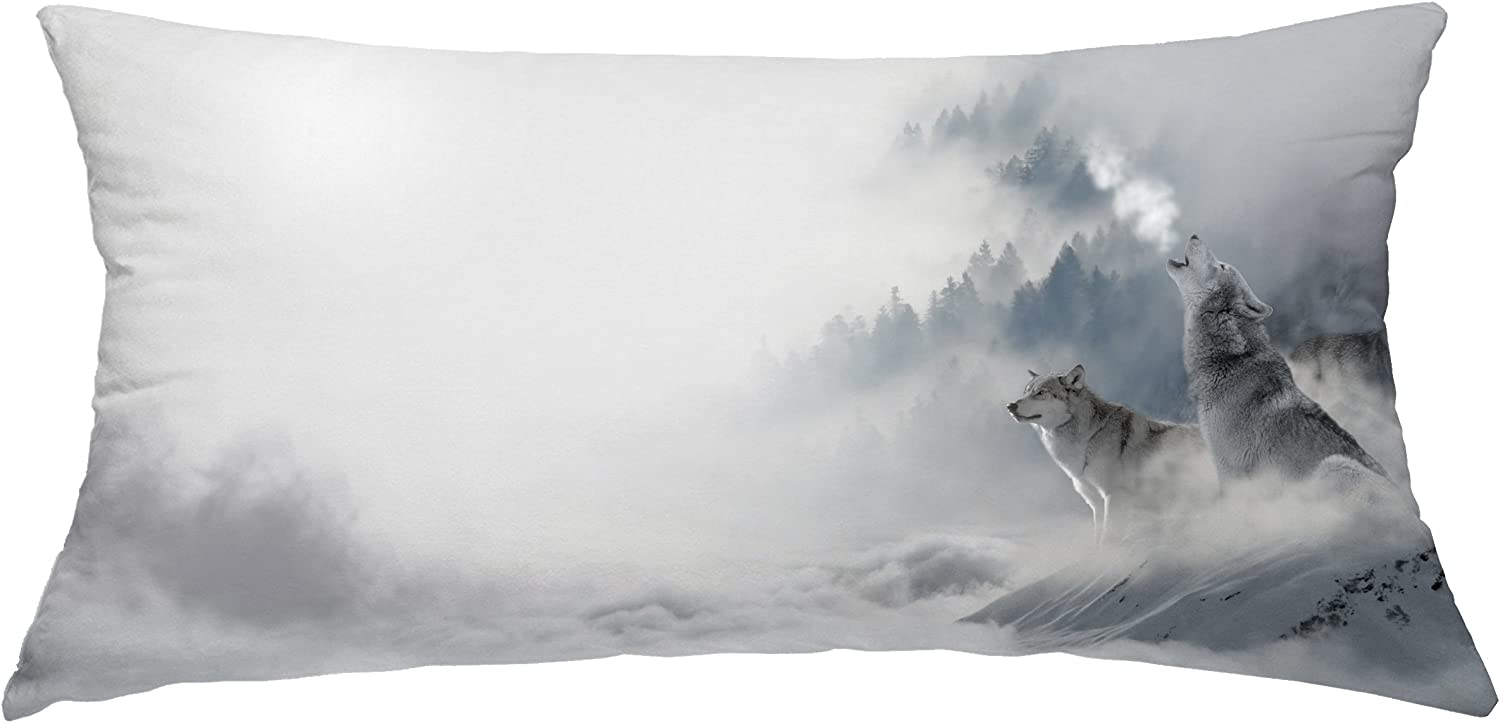 pillow covers Wolf Howling in The Snow Mountain Decorative Throw Pillow Case Cushion Cover Body 14X 28