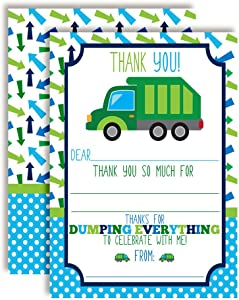 Garbage Dump Truck Themed Thank You Notes for Kids, Ten 4
