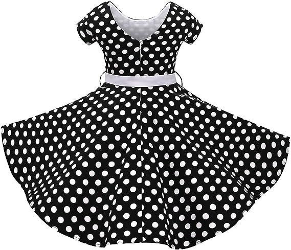 OwlFay Girls 50s Vintage Polka Dot Retro Swing Rockabilly Party Dresses with Waistband