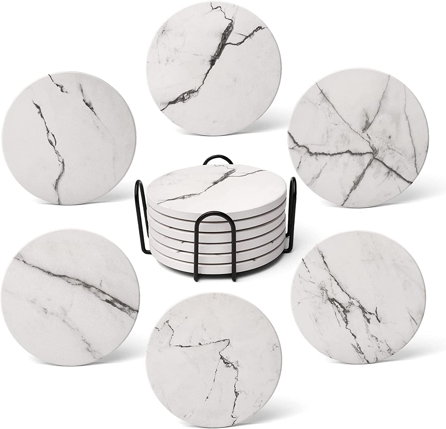 Coasters for Drinks, Absorbent Drink Coasters Marble Style Ceramic Absorbent Coasters with Holder(6-Piece Set) Cups Place Mats for Home Decor
