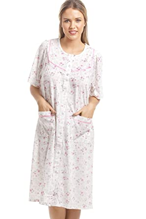 1f7495da90 Camille Womens Ladies Classic Pink Floral Print White Short Sleeve Button  Up Nightdress 10 12