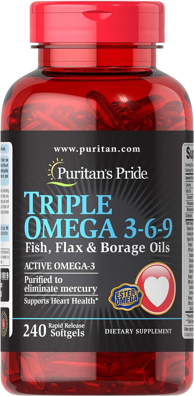 Amazon Com Puritans Pride Triple Omega 3 6 9 Fish Flax Borage