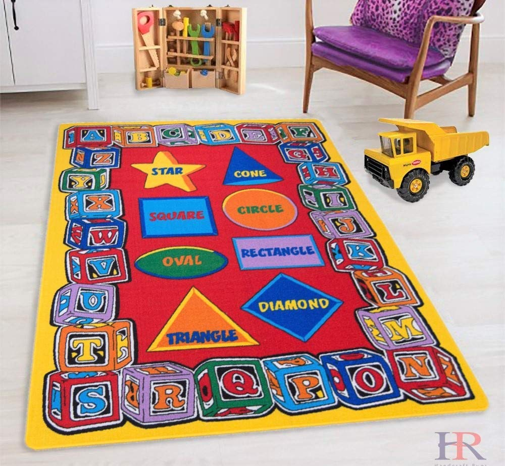 HR'S 8FTX11FT KIDS EDUCATIONAL/PLAYTIME RUG 7FT.4INX10FT.4IN (ABC SHAPES)PLEASE CHECK ALL PICTURES by Handcraft Rugs