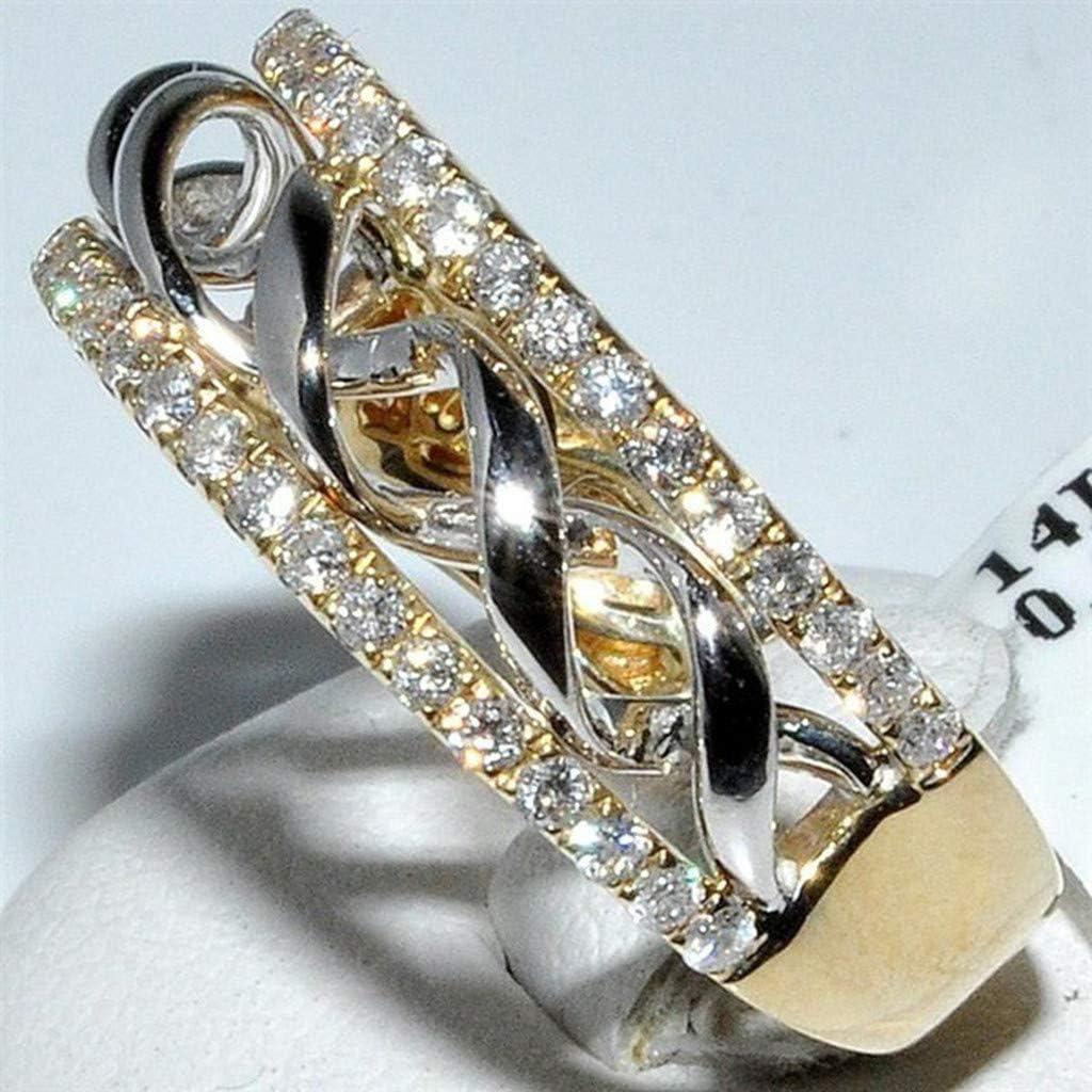 2019 New Fashion Elegant Hollow Spiral Diamond Smooth Ring Ladies Jewelry Valentines Day Gifts for Girlfriend Boyfriend
