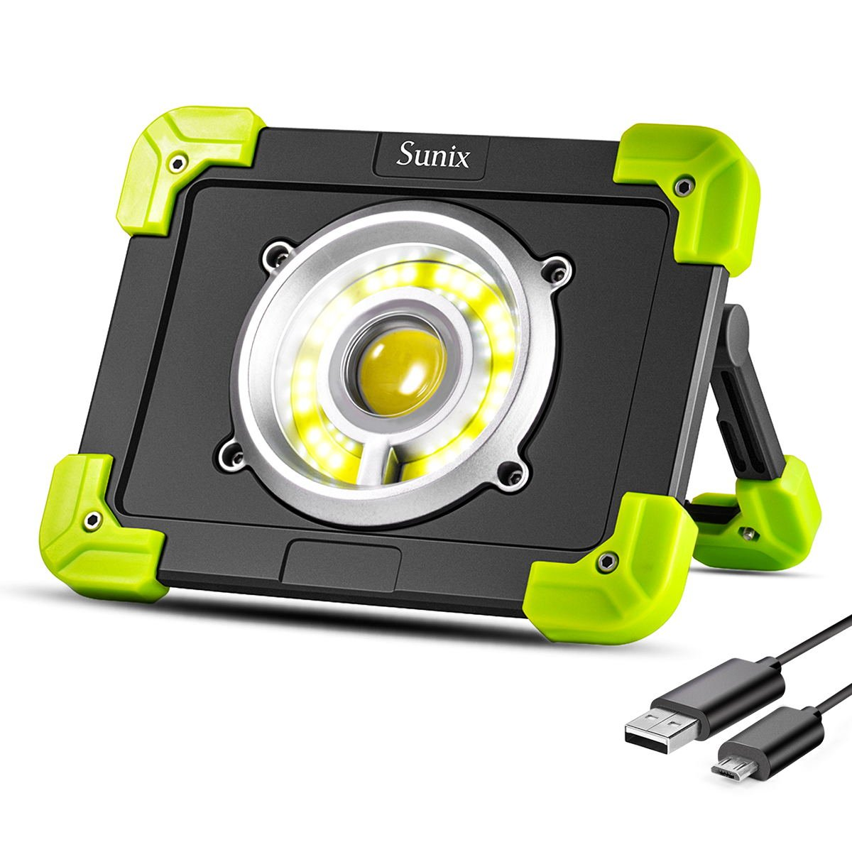 Sunix 20W Portable LED Work Light, LED Emergency Lights, Spotlight Camping Light, 1500LM 6000 mAh Built-in Rechargeable Batteries with Dual USB Port and Emergency SOS Mode SU-SU616-ITFBA