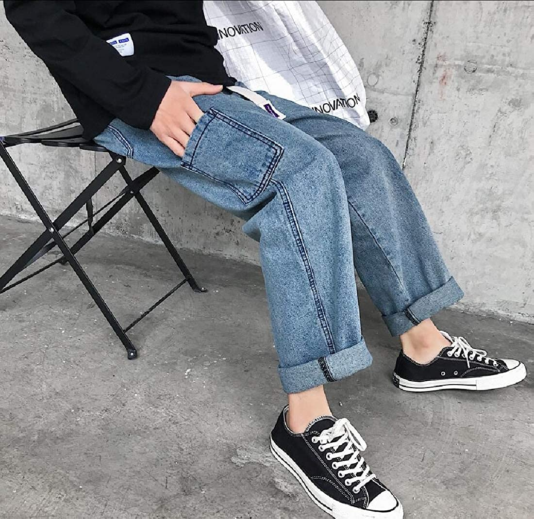 Hokny TD Mens Hipster Jeans Solid Color Straight Baggy Denim Pants