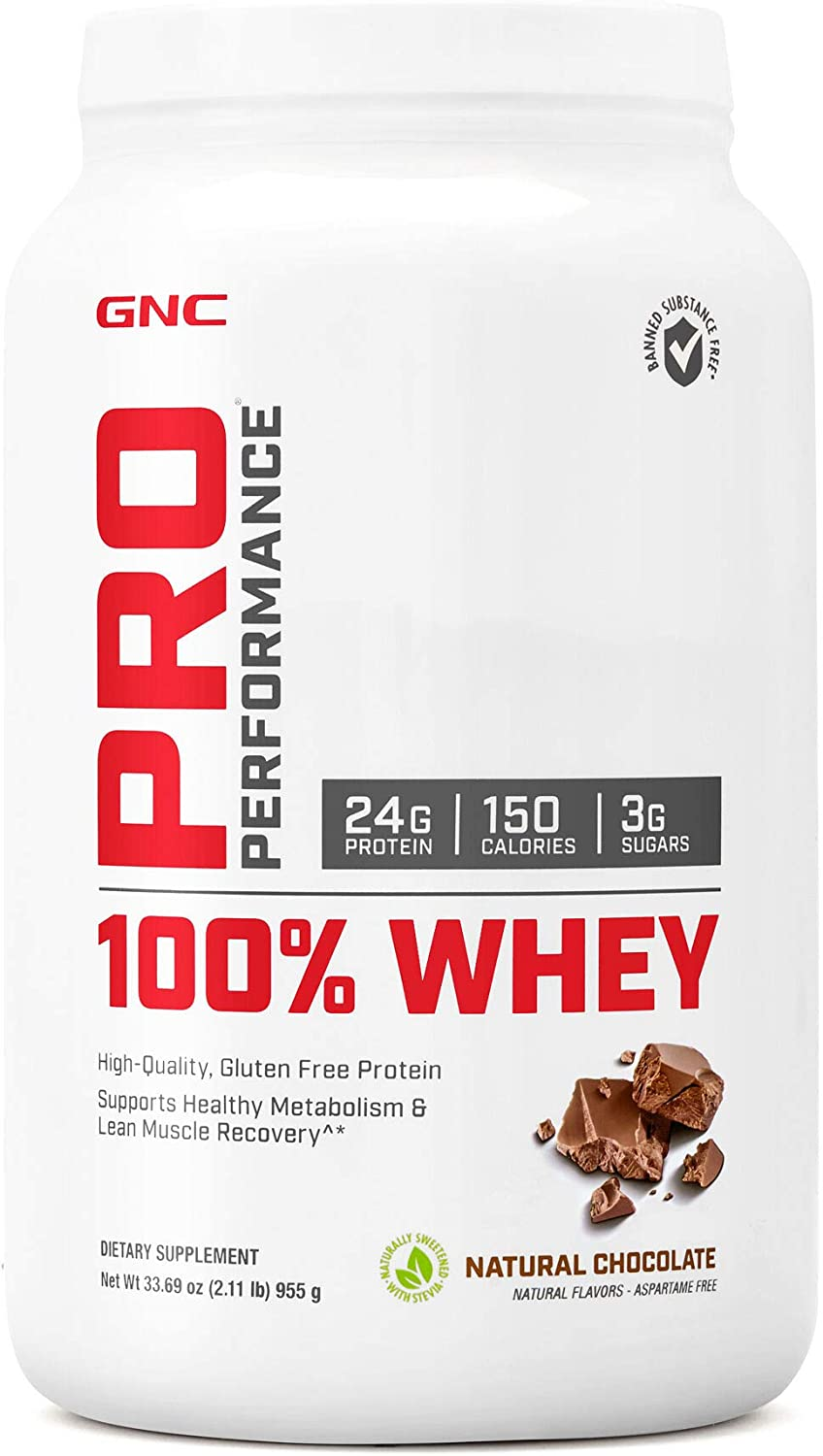 GNC Pro Performance 100% Whey Protein Powder - Natural Chocolate, 25 Servings, Supports Healthy Metabolism and Lean Muscle Recovery