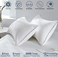 "Pillows for Sleeping 2 Pack Adjustable Hypoallergenic Velvet Hotel Pillows for Side Back and Stomach Sleeper Neck Pain Fluffy Down Alternative Ultra-Soft Microfiber Filling, 20""x26"" Standard Size Washable"